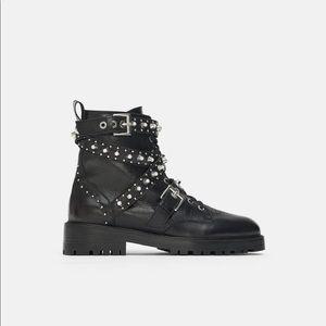 Zara Leather Ankle boots with jewel detail